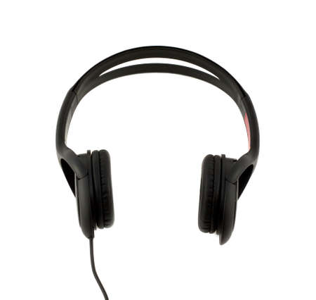 front view: Black stereo headphones front view isolated on white background Stock Photo