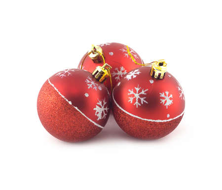 ball: Three red Christmas balls isolated on white background. Studio shot closeup