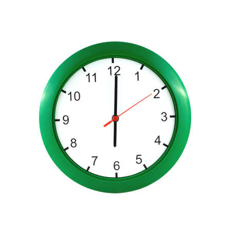 o'clock: Six oclock on big wall clock in green case isolated on white closeup