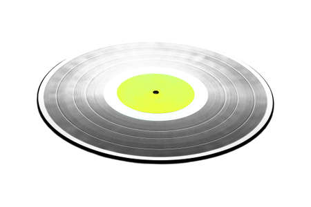 hi fi: Single black long-play 33RPM vinyl record with green label isolated on white background. Stock Photo