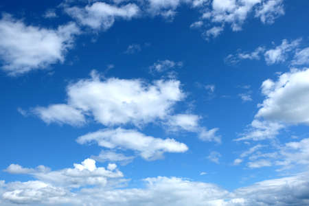 stratosphere: Beautiful celestial landscape with white clouds high in the stratosphere on a sunny summer day