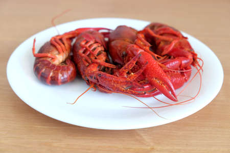 Boiled crayfish color on a round white plate on a wooden table surface. Front view close-up Stock Photo