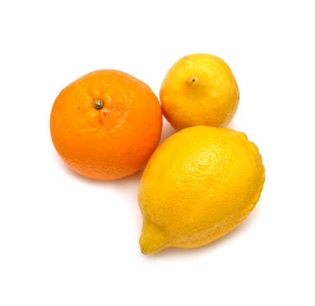 stilllife: Still-life with ripe two lemons and orange isolated on white background top view horizontal closeup