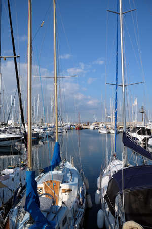 Many sea yachts parking in marina 免版税图像
