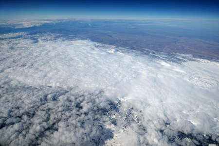 Winter landscape from high flying airplane