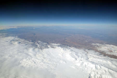 Winter snow landscape from stratosphere