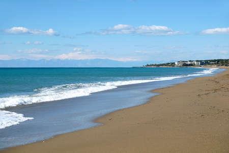 Long empty beach in low season