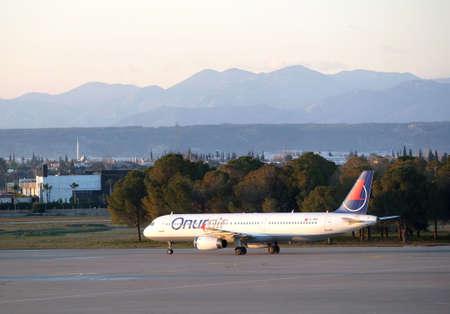 Airbus landed in Antalya International Airport on sunset