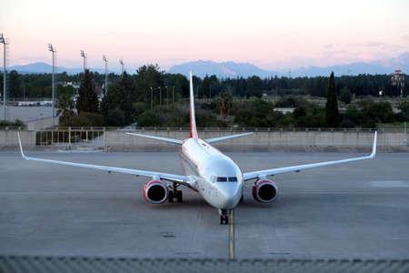 Aircraft Boeing-737-800 on airfield Antalya international airport