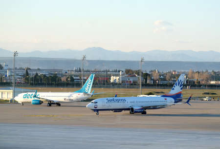 Planes Boeing-737-800 on airfield Antalya international airport Editorial