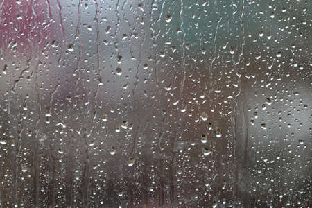 Background with rain drops on green background close up Banco de Imagens - 122371415