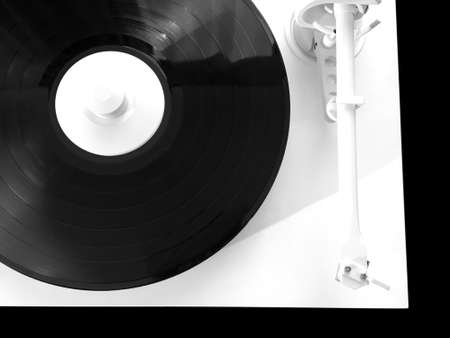 White turntable with vinyl record isolated on black