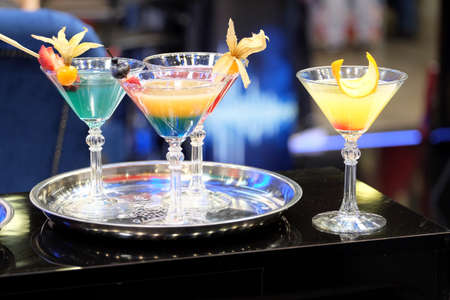 Colorful cocktails in restaurant bar counter