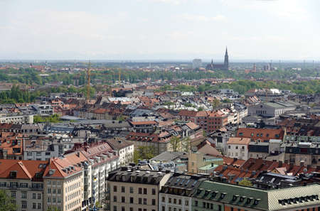 Munich buildings roofs and Alps at far bird view
