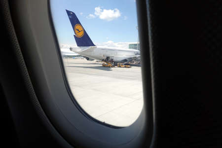Boeing aircraft of Lufthansa in Munich view from airplane window
