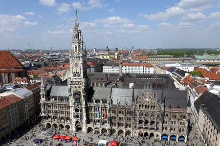 New Town Hall on Marienplatz in Munich view on sunny summer day above city