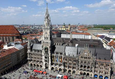 Marienplatz in Munich view from Saint Peter Bell Tower Banco de Imagens