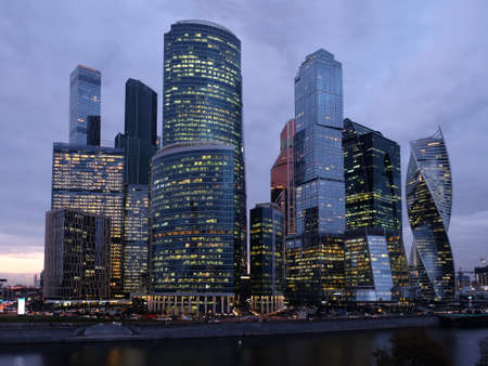 Moscow City International Business Center skyscraper buildings on Moskva River embankment night view