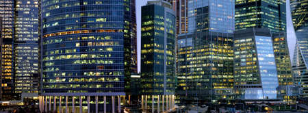 Moscow City International Business Center skyscraper buildings with panoramic windows night view Reklamní fotografie