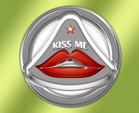 adulation: A chrome Kiss me sign