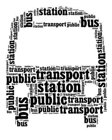 bus background: black text graphic composed in bus shape on white background Stock Photo