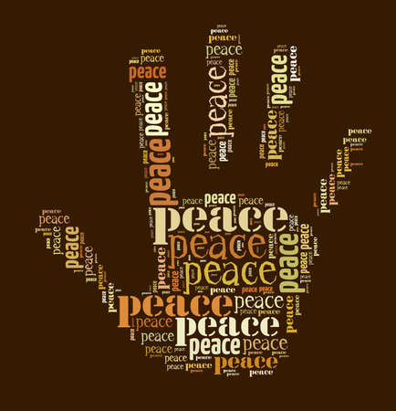 colorful text graphic composed in hand shape on brown background Stock Photo - 18001129