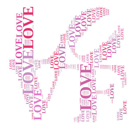 colorful text graphic composed in love text shape on white background Stock Photo - 18001132