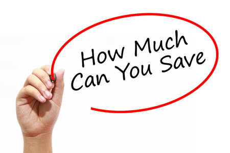 mortgaging: Man Hand writing How Much Can You Save with marker on transparent wipe board. Business, internet, technology concept. Stock Photo