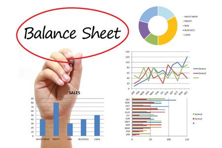 ganancias: Balance del hombre de negocios por escrito en circual rojo en la pantalla virtual. Negocios, la banca, las finanzas y el concepto de inversión.