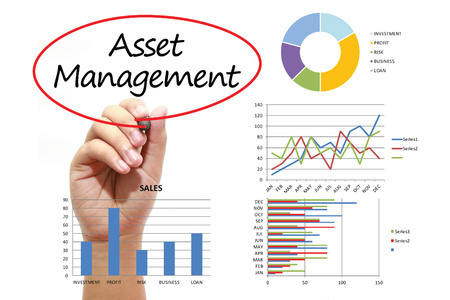 Businessman writing Asset Management in red circual on virtual screen. Business, banking, finance and investment concept.