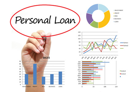 personal banking: Businessman writing Personal Loan in red circual on virtual screen. Business, banking, finance and investment concept.