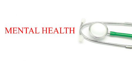 doctor burnout: Close up Stethoscope and words Mental Health over white background