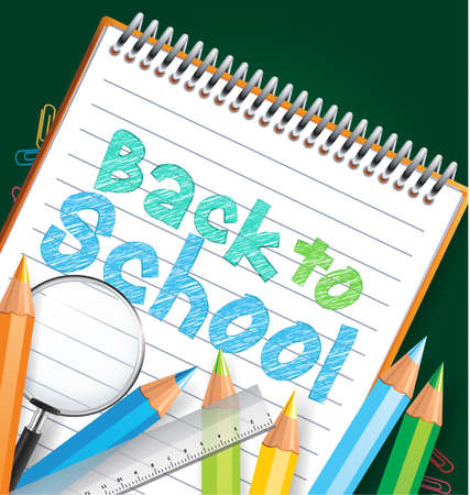 Back to school background with colored pencils and school items Vector