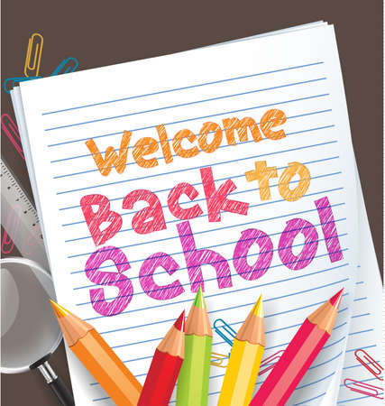 colored pencils: Back to school background with colored pencils and school items