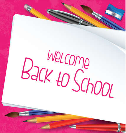 Welcome back to school writings with school items and materials Vector