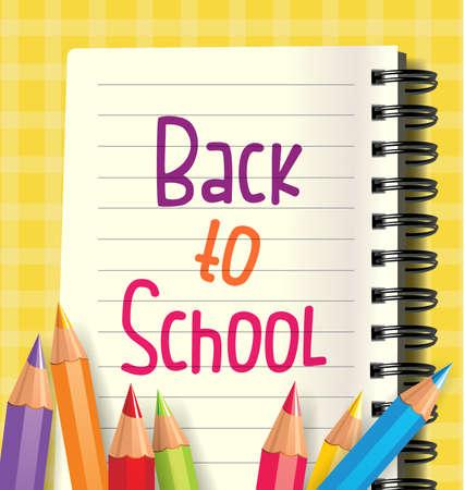 niños escribiendo: Volver a fondo de la escuela con el cuaderno y lápices de colores