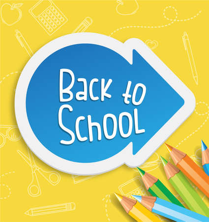 Back to school background with arrow and color pencils Vector