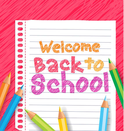fold back: Back to school background paper with colored pencils