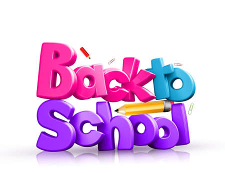 Colorful 3d back to school text
