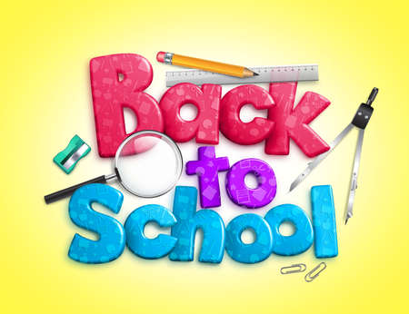 3d dimensional: Colorful Back to School Text in 3D dimensional