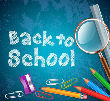 Back to School Background in Blue Vector