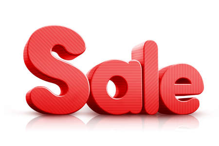 3D Rendered Sale Word in Red Color in White Background photo