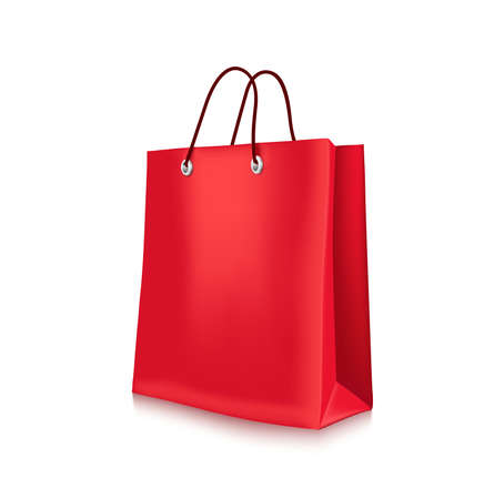 Colorful Red Shopping Bag in White Background Illustration