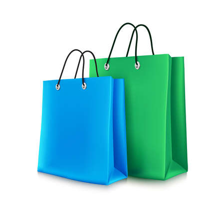 Colorful Shopping Bags in White Background