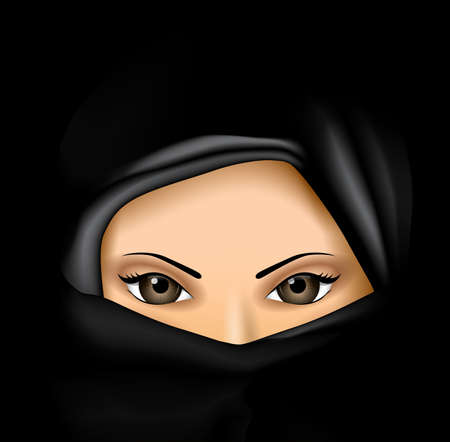 black woman: Arab Muslim Woman in Black dress