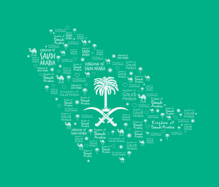 arabia: Saudi Arabia Map with Beautiful Pattern