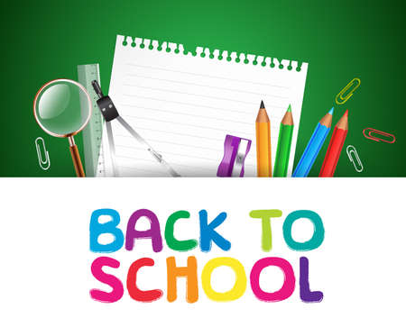 Back to School Background with school Items Vector