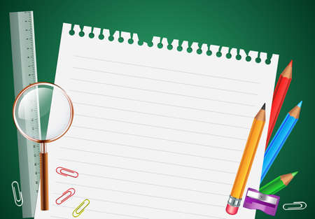 fold back: Back to School Background With School Items and White Space for Words