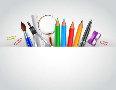 Powrót do szkoły tle z artykułów szkolnych białe miejsca dla słów Ilustracje wektorowe