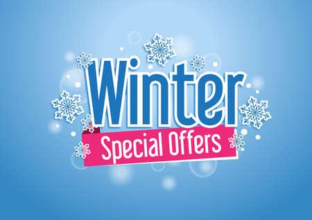 Winter-Angebote Schöner Hintergrund mit Schneeflocken Standard-Bild - 34579403